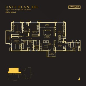 Tower Cygnus, Unit No : 101 <br> Typical Floor Plan (2nd to 14th Floor)
