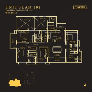 Tower Cygnus, Unit No : 102 <br> Typical Floor Plan (2nd to 14th Floor)