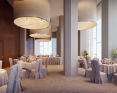A grand double height community hall has Italian finish wall tiles and marble tiled floor. It comes with an attached 2500 sqft lush green lawn and with provisions for pre-arranged tables and chairs separately for functions